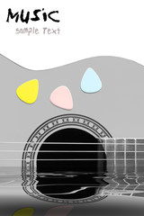 acoustic guitar with reflection in water