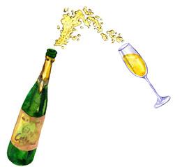 bottle with splashing champagne
