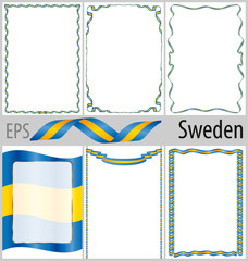 Set of 6 frames and borders with coloring Argentinaa flag