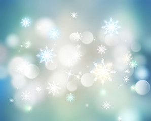 New year christmas snowflakes blur background.
