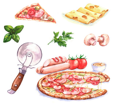 Hand-drawn watercolor illustration of the pizza and different ingredients: mushrooms, cheese, basil, tomato, pizza cutter. Drawing isolated on the white background