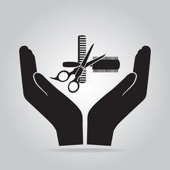Hair salon with scissors and comb in hand icon