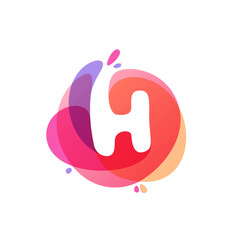 Letter H logo at colorful watercolor splash background.