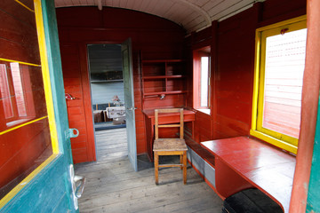 Interior of the old railway carriage
