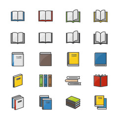 Book Color Icons Set Of Stationery Vector Illustration Style Colorful Flat Icon