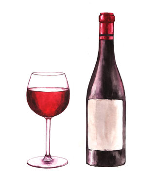 Hand-drawn watercolor illustration of the wine bottle and one glass of red wine. Drawing isolated on the white background