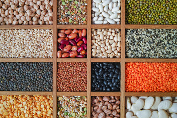 Collection assorted of lentils, beans, peas, grain, groats, soybeans