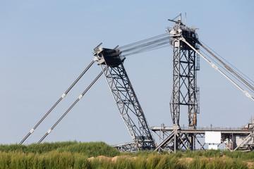 bucket wheel excavator in an open-cast mining