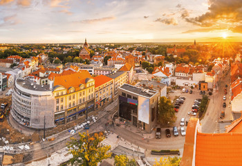 view of the old city of Olsztyn from the balcony of the town hall - photographs taken  during the construction of the historical moment in the city tram traction