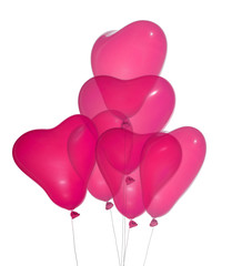 six pink heart shape isolated balloons