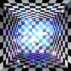 Vector translucent light effect. Plaid room, black and white cell, 3d chess board. Abstract vector design background
