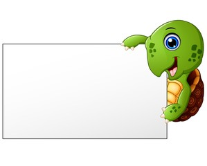 Cartoon Turtle holding blank banner