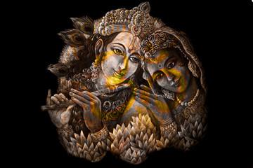 krishna radha couple with sacred symbol, graphic from handpainted original