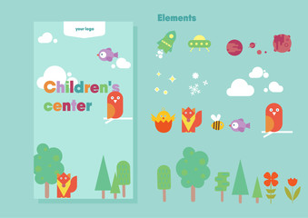 Children design template | vector animals, trees and elements