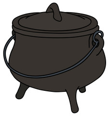 Hand drawing of a historical black cast iron kettle