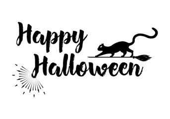 Halloween Greeting card Calligraphy with sunrays. Sunburst Happy Halloween banner or poster. Vector illustration. Vector illustration.