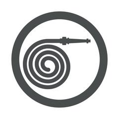 Icono plano manguera espiral en circulo gris