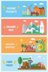 Farm Infographic Elements Banners Set, vector