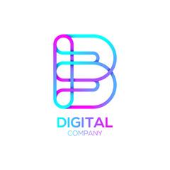 Letter B Logo Design.Linked shape circle symbol,Digital,pink blue