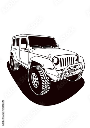 """""""Jeep Vector Line Art"""" Stock image and royalty-free vector ..."""