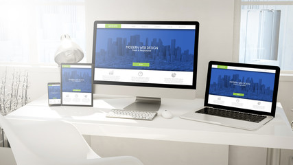 Wall Mural - desktop devices computer, tablet, laptop and phone with fresh an