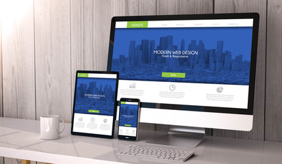 devices responsive on workspace showing fresh and modern respons