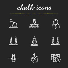 Oil industry chalk icons set