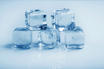 Ice cubes studio photo blue toning