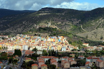Bosa Colorfull houses in Sardinia Italy Europe