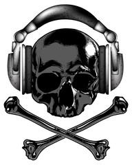 skull in the headphones