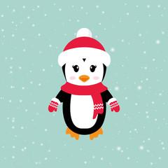 cartoon winter penguin with hat