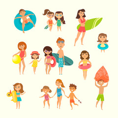 Vector illustration of kids on the beach