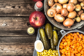 Ingredients of vegetable salad, cooking recipe, traditional polish cuisine