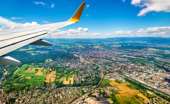 View of Mulhouse from an airplane - France