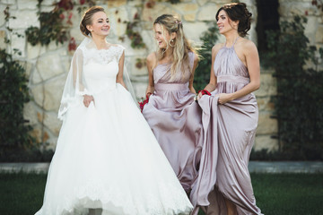 bridesmaids spends wonderful  time with bride