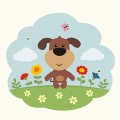 Cartoon puppy. Finny little puppy on flower field