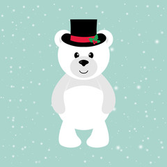 cartoon winter bear with hat