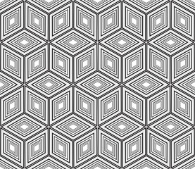 seamless vector pattern. imitation pencil drawing in the form of engraving. virtual 3d cube
