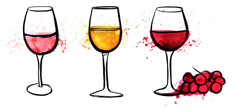Vector wine set with freehand drawings of wine glasses