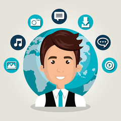 man web online isolated vector illustration eps 10