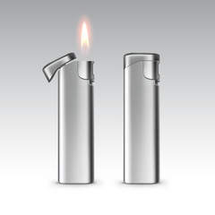 Vector Blank Metal Lighters with Flame Isolated on White Background