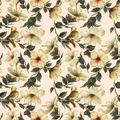 Hand-drawn watercolor floral seamless pattern with the tender white hibiscus flowers on the white background in vintage style. Natural tropical and vibrant repeated print for textile, wallpaper etc