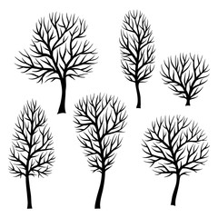 Collection of abstract stylized black trees silhouettes