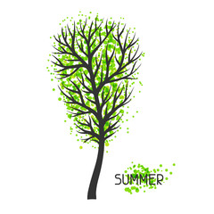 Background with summer tree. Illustration of silhouette and abstract spots