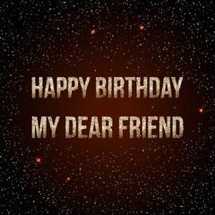 Happy Birthday vector card. on decorated confetti background. stylish inscription. brochure, gift certificate, party invitation, congratulation