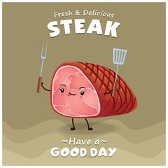 Vintage Steak poster design with vector steak character.