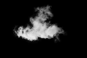 Single white cloud isolated over black background, Smoke isolated on black
