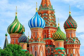 Fototapete - Domes of the famous Head of St. Basil's Cathedral on Red square, Moscow, Russia