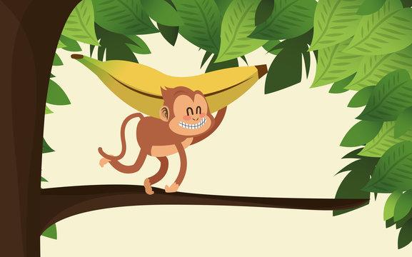 flat design jungle monkey and banana cartoon vector illustration