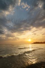 Sunrise slow water / Bright summer sunrise Photo Ukraine